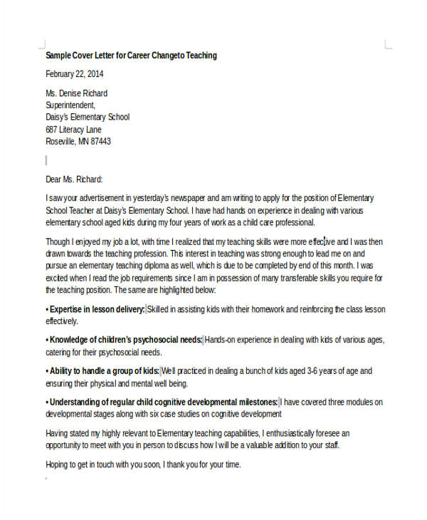Cover Letter to Change Careers 6 Career Change Cover Letter Free Sample Example