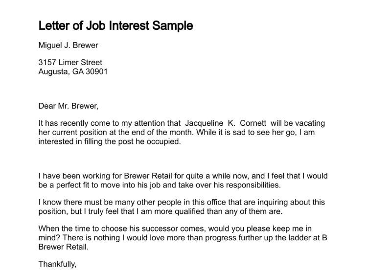 sample letter interest job position
