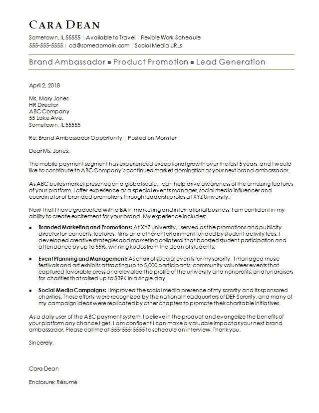 brand ambassador cover letter sample opinion from cover letter to staffing agency