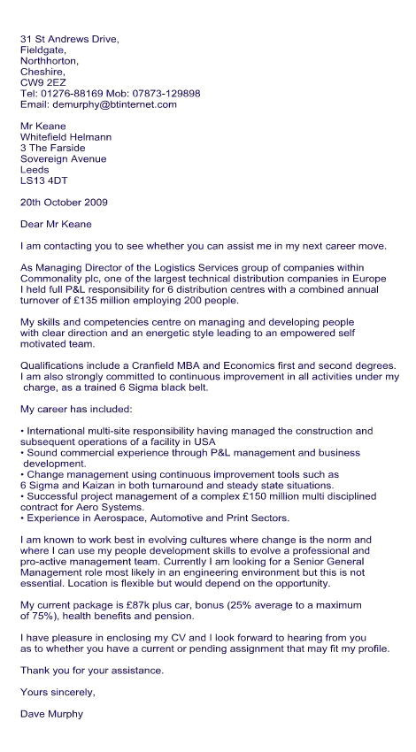 cover letter for recruitment consultant
