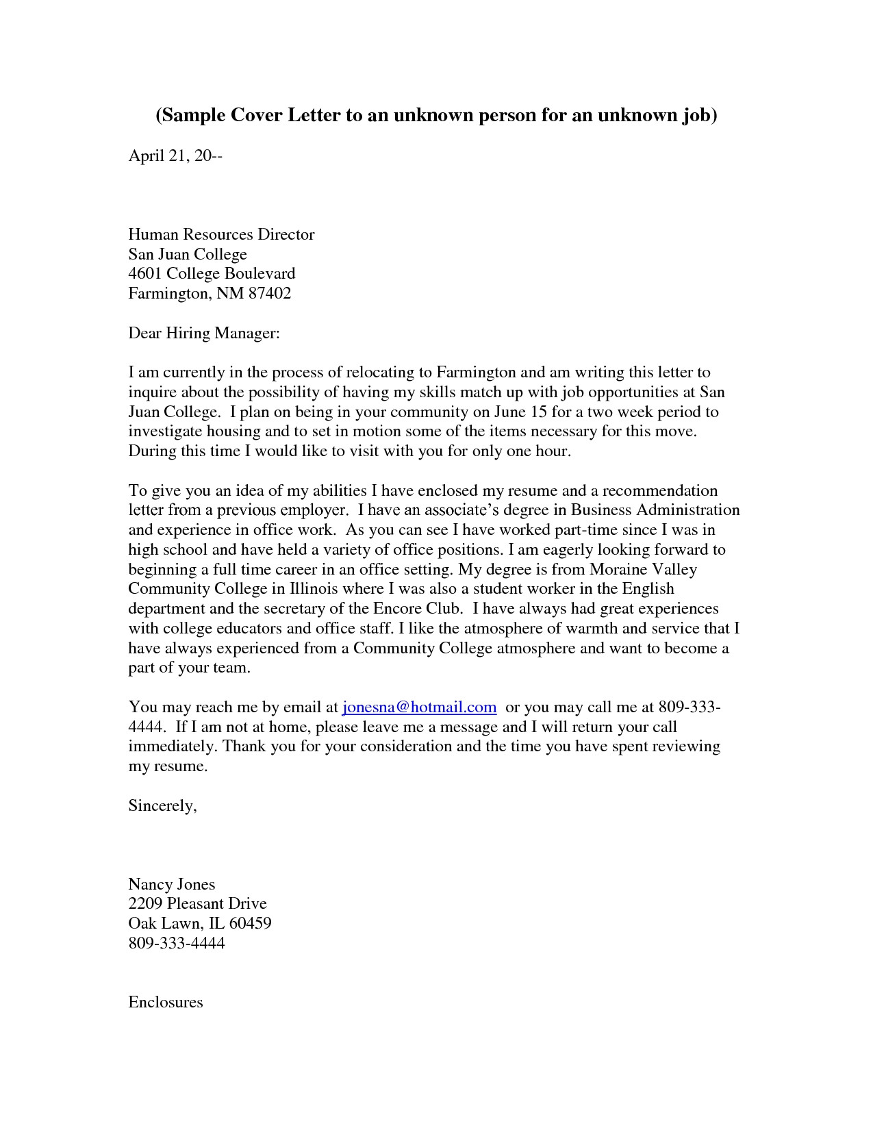 Cover Letter to Unknown Company Cover Letter to Unknown Recipient the Letter Sample