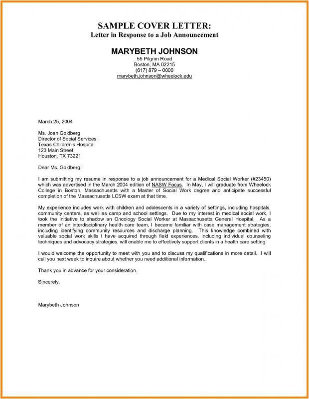 cover letter sample for job