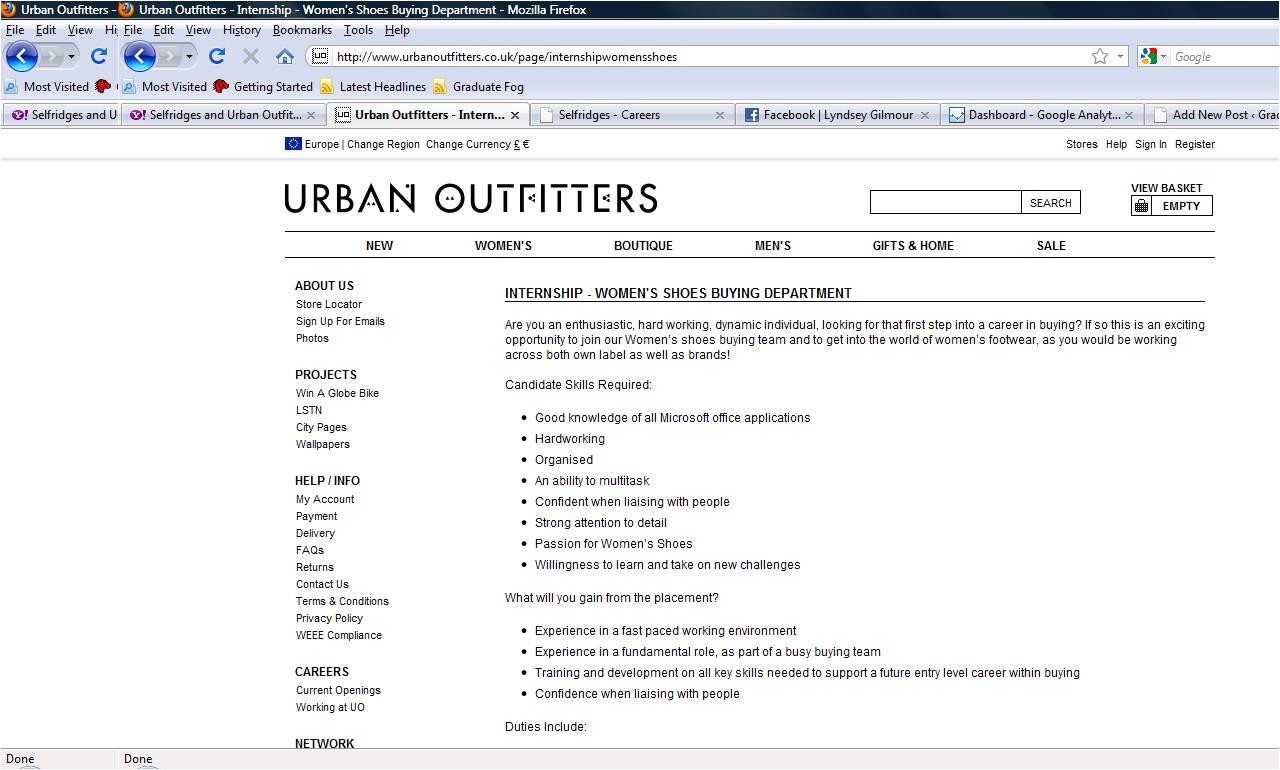 Cover Letter Urban Outfitters Buying Resume