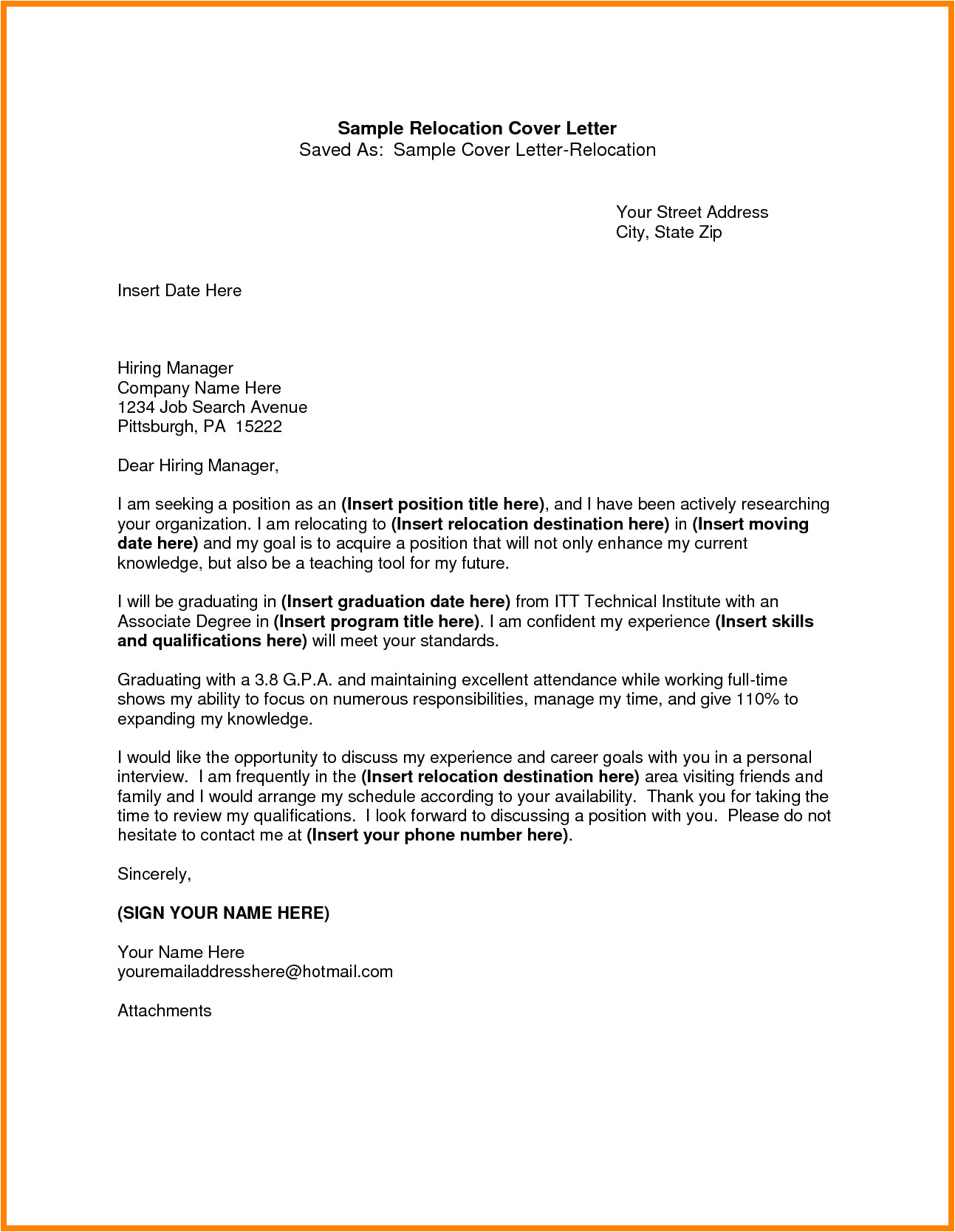 Cover Letter when Relocating 8 Relocation Notice Template Appeal Leter