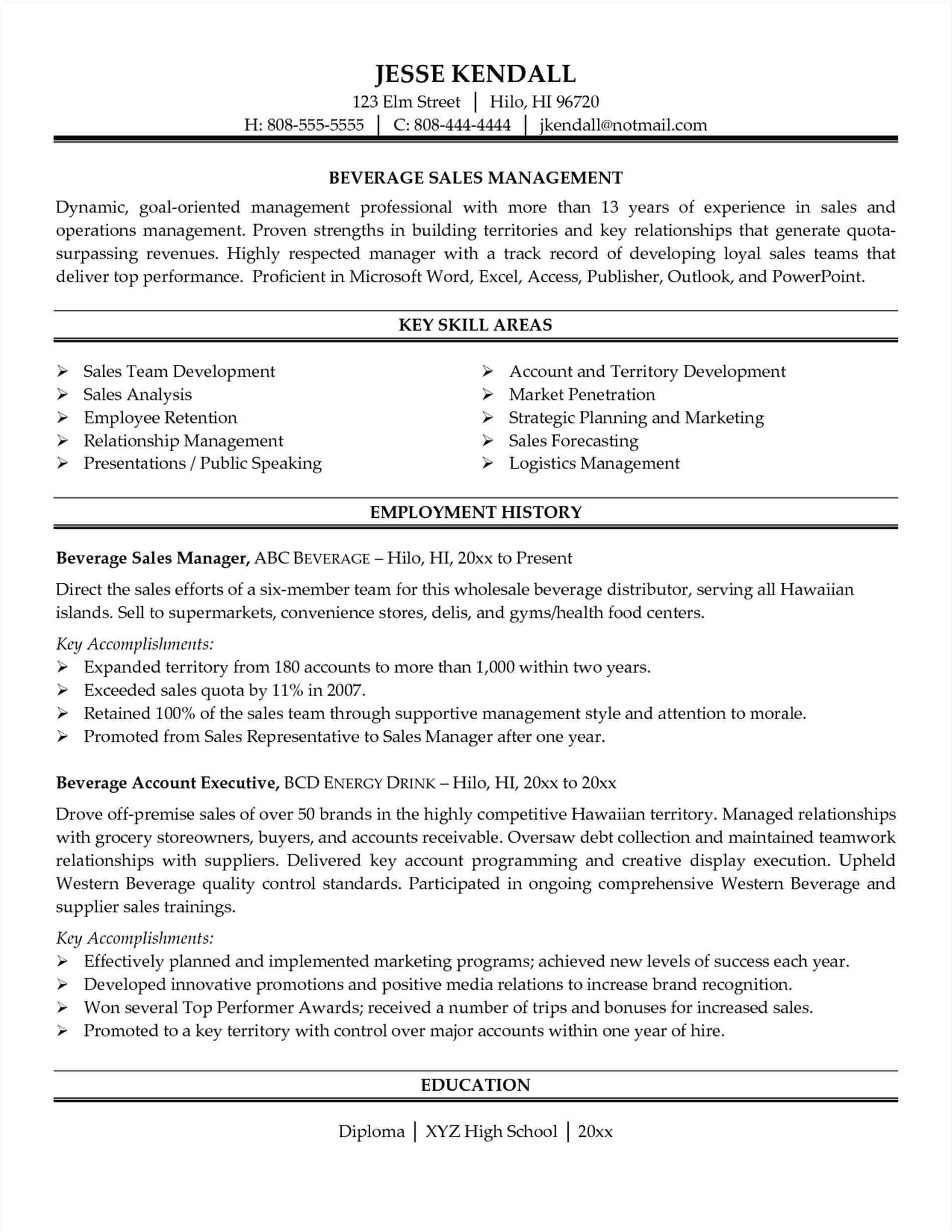 sample resume for wine sales representative