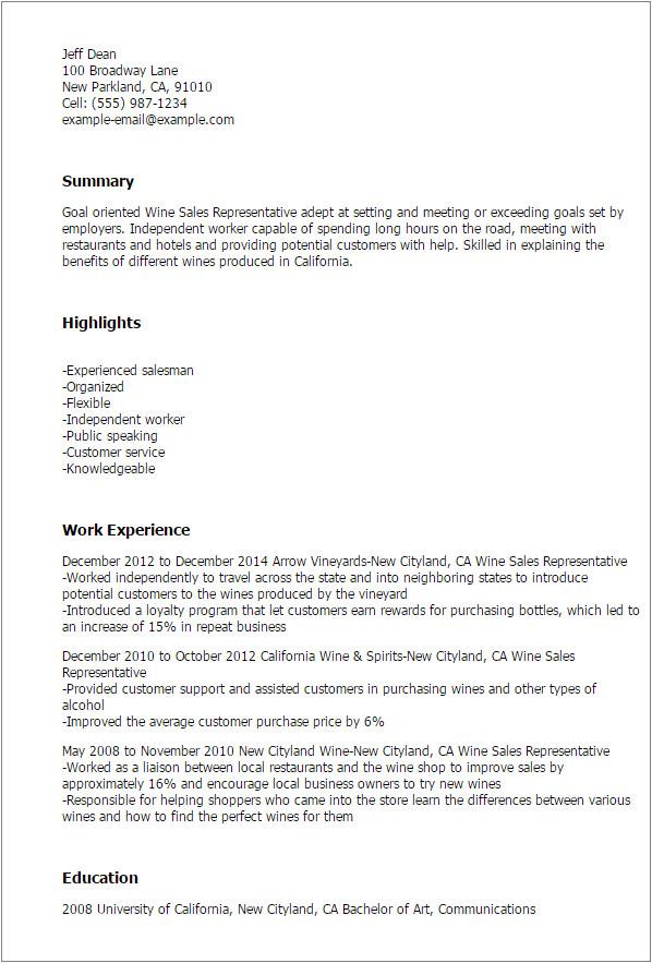 Cover Letter Wine Sales Wine Sales Representative Resume Template Best Design
