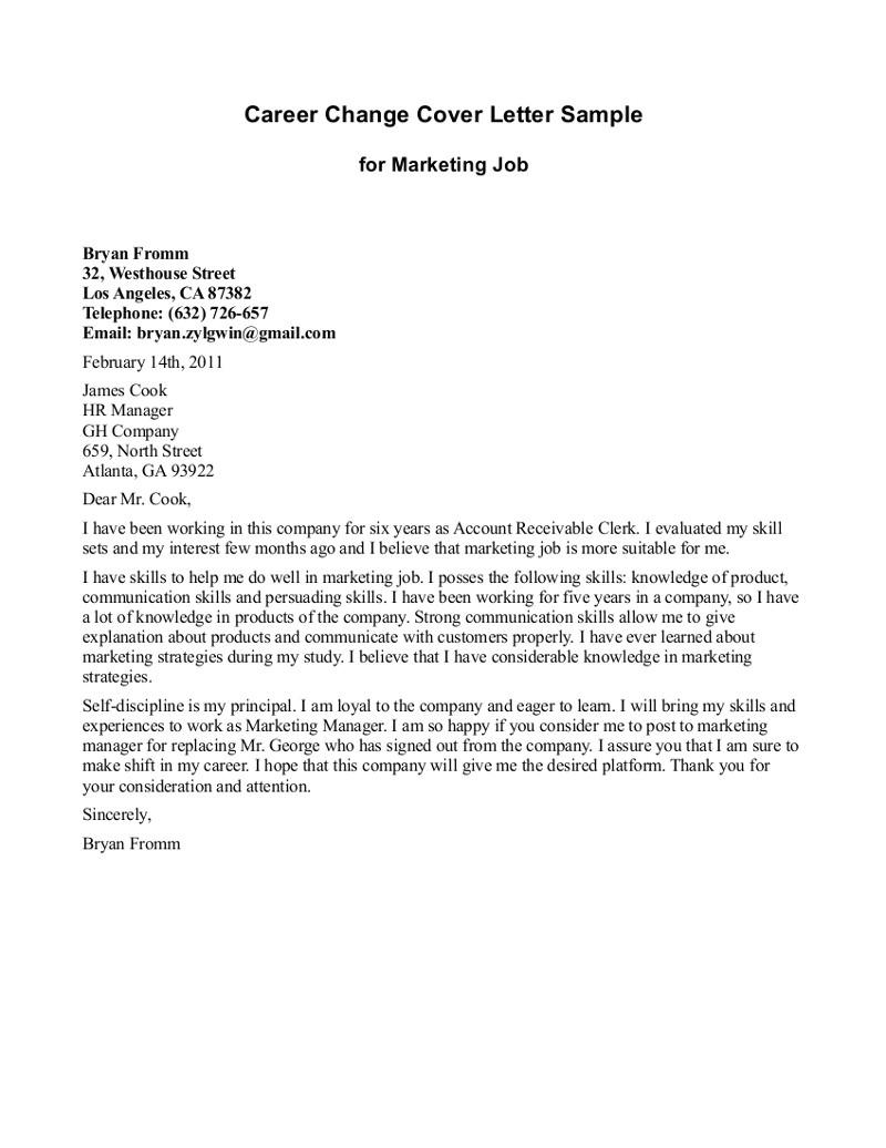career change cover letter