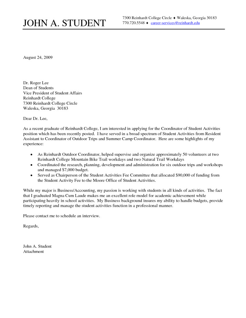 Cover Letters for College Graduates College Student Cover Letter Sample Cover Letter for Job
