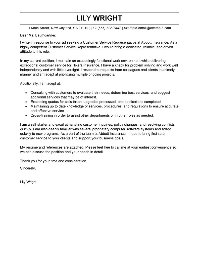 Cover Letters for Customer Service Position Best Customer Service Representative Cover Letter Examples