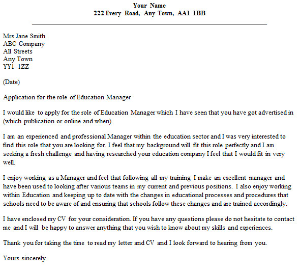 education manager cover letter example