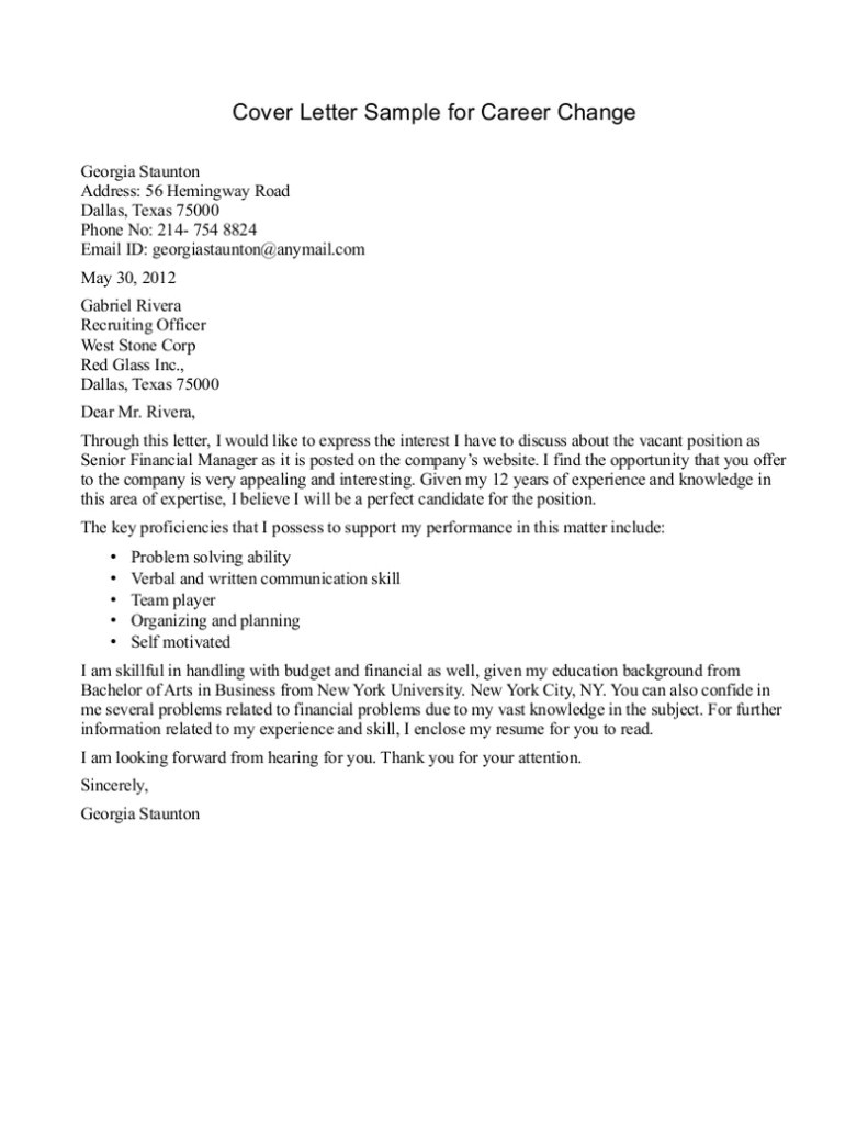 Cover Letters for Employment Opportunities 10 Sample Of Career Change Cover Letter