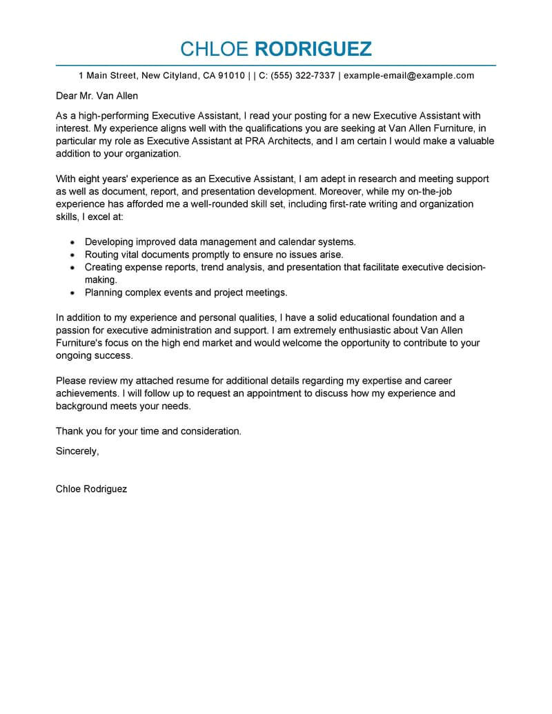 Cover Letters for Executive assistant Positions 350 Free Cover Letter Templates for A Job Application