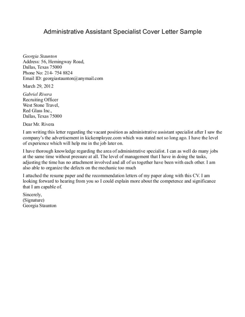 Cover Letters for Executive assistant Positions Sample Cover Letters for Administrative assistant