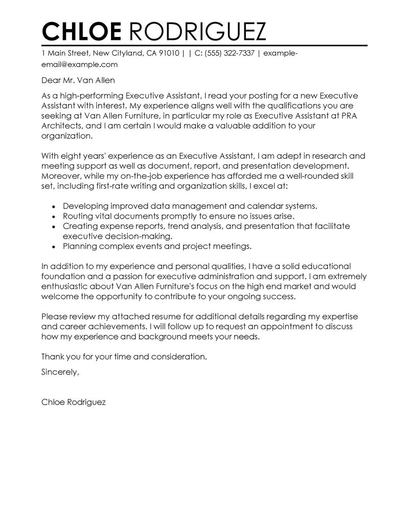 Cover Letters for Executive assistants Best Executive assistant Cover Letter Examples Livecareer