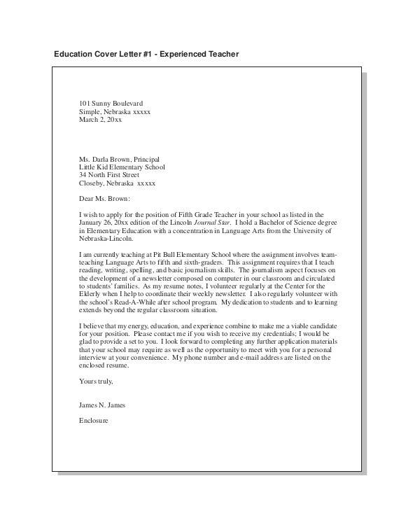 Cover Letters for Experienced Teachers Teacher Cover Letter Example 9 Free Word Pdf Documents