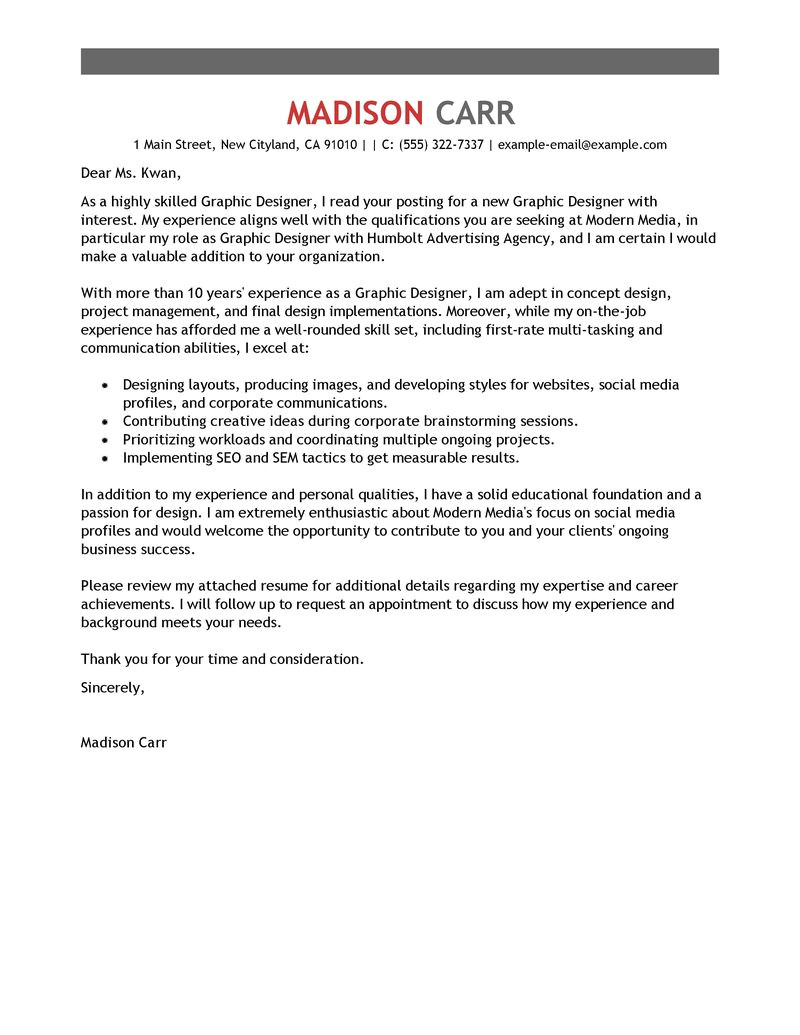 Cover Letters for Graphic Design Jobs Best Graphic Designer Cover Letter Examples Livecareer