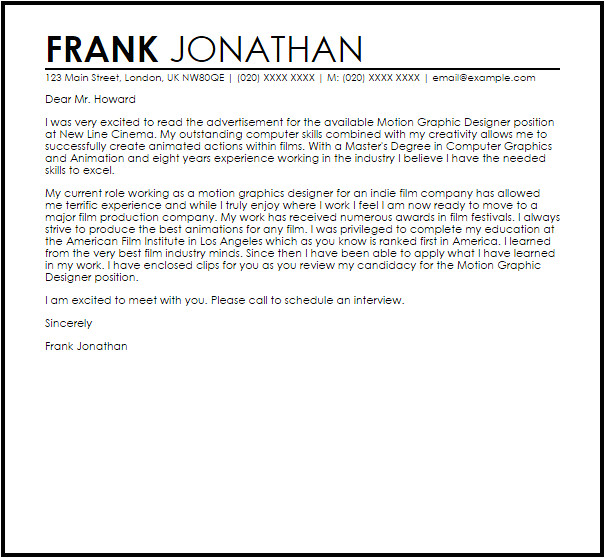 Cover Letters for Graphic Design Jobs Motion Graphic Designer Cover Letter Sample Cover Letter