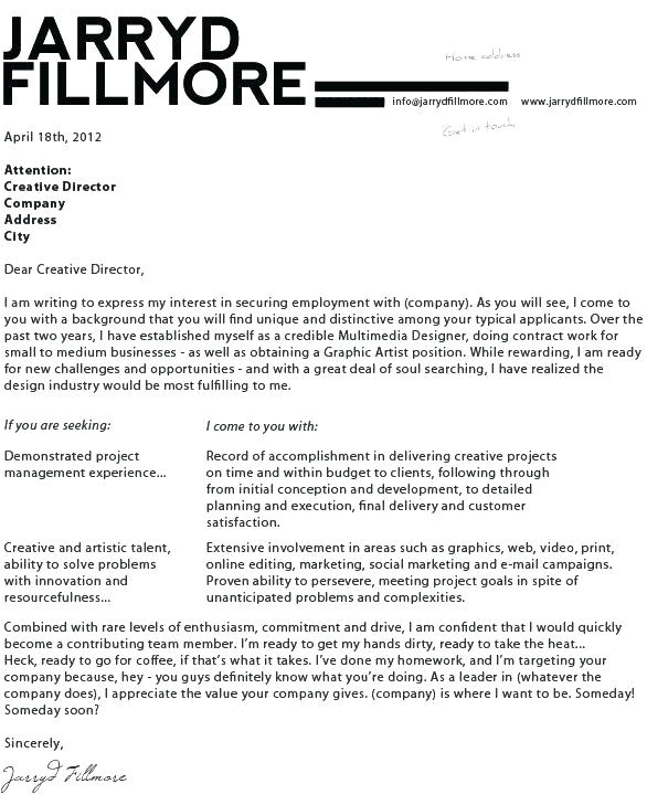 creative graphic design cover letter examples