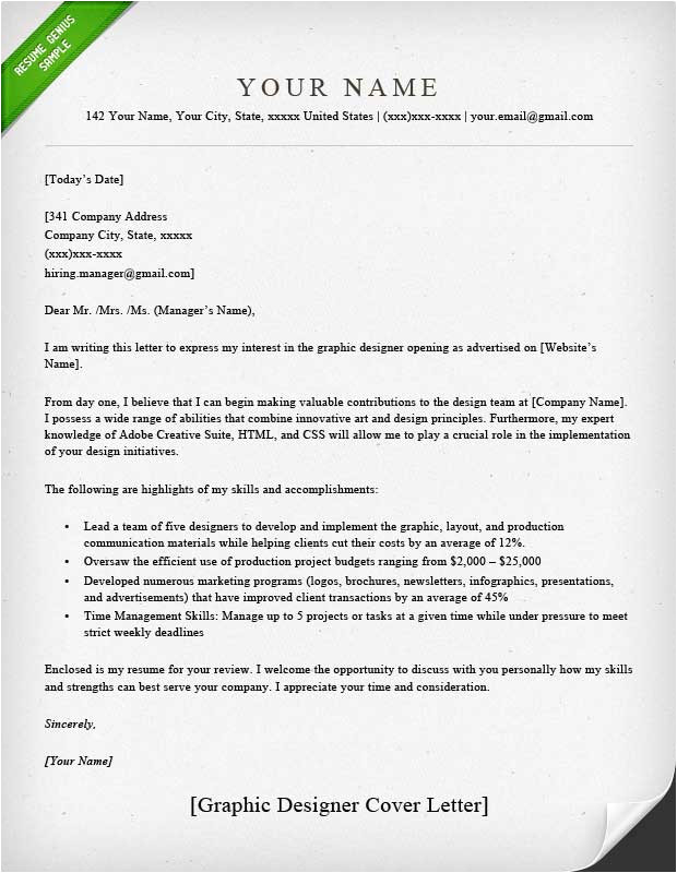 graphic designer cover letter samples