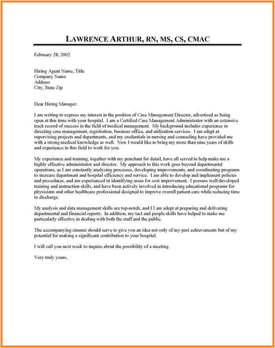 10 cover letter for hospital job application