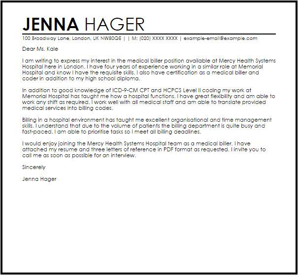 sample cover letter for a hospital