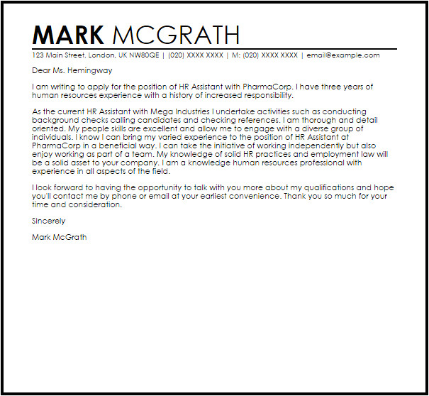 Cover Letters for Hr Jobs Hr assistant Cover Letter Sample Cover Letter Templates