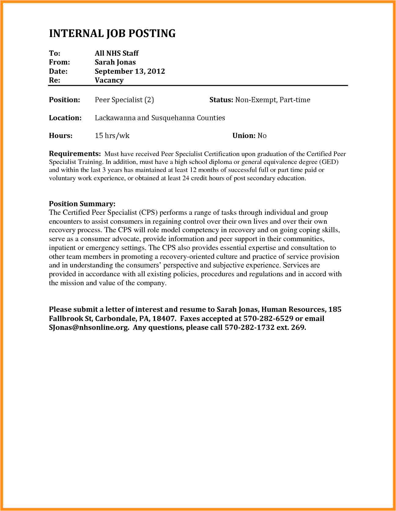 how to write cover letter for internal job posting