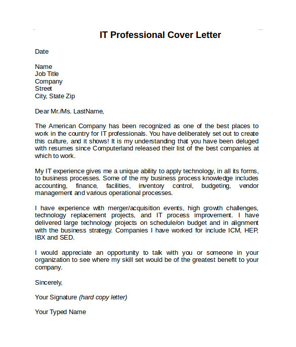 information technology cover letter template