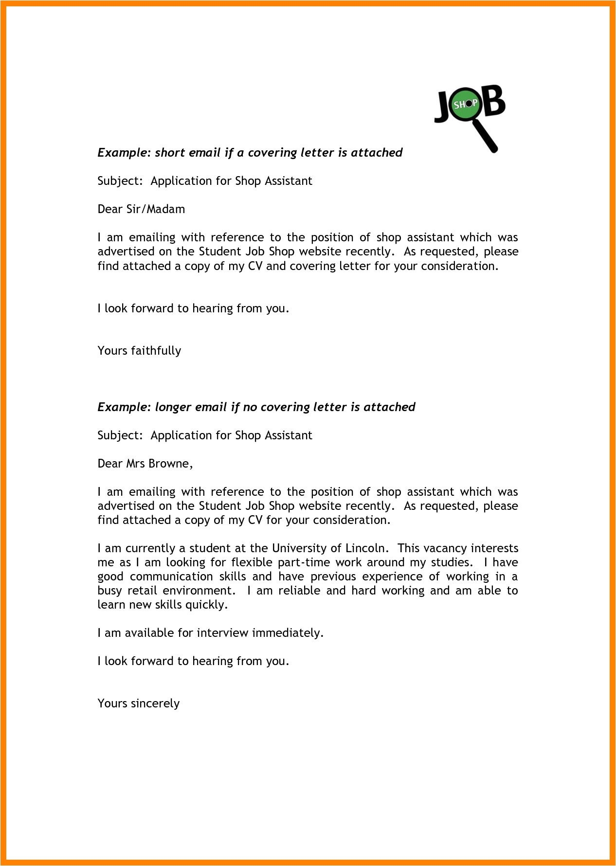 6 email covering letter for job application