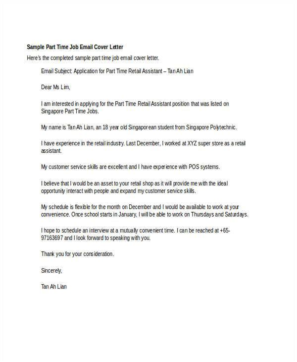 cover letter email sample job application