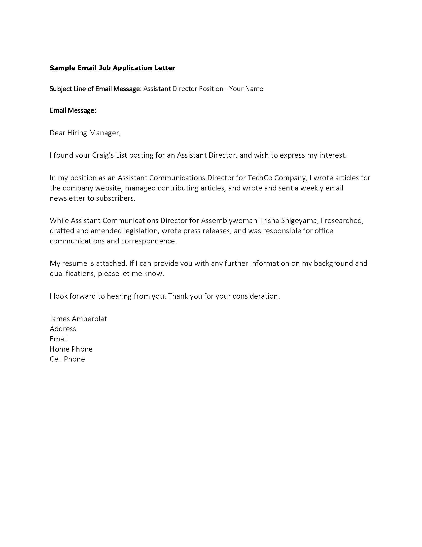 job application letter email sample