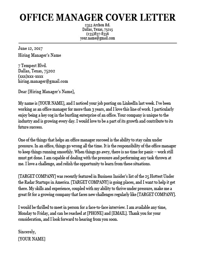 Cover Letters for Managers Office Manager Cover Letter Sample Resume Companion