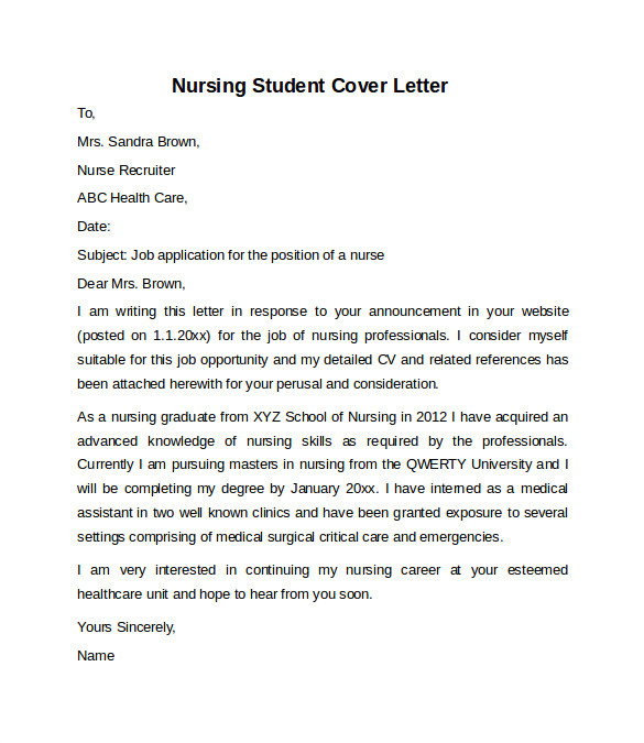 Cover Letters for Nursing Students 10 Sample Nursing Cover Letter Examples to Download