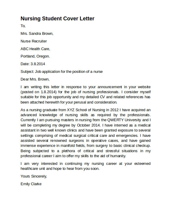 Cover Letters for Nursing Students 8 Nursing Cover Letter Templates to Download Sample