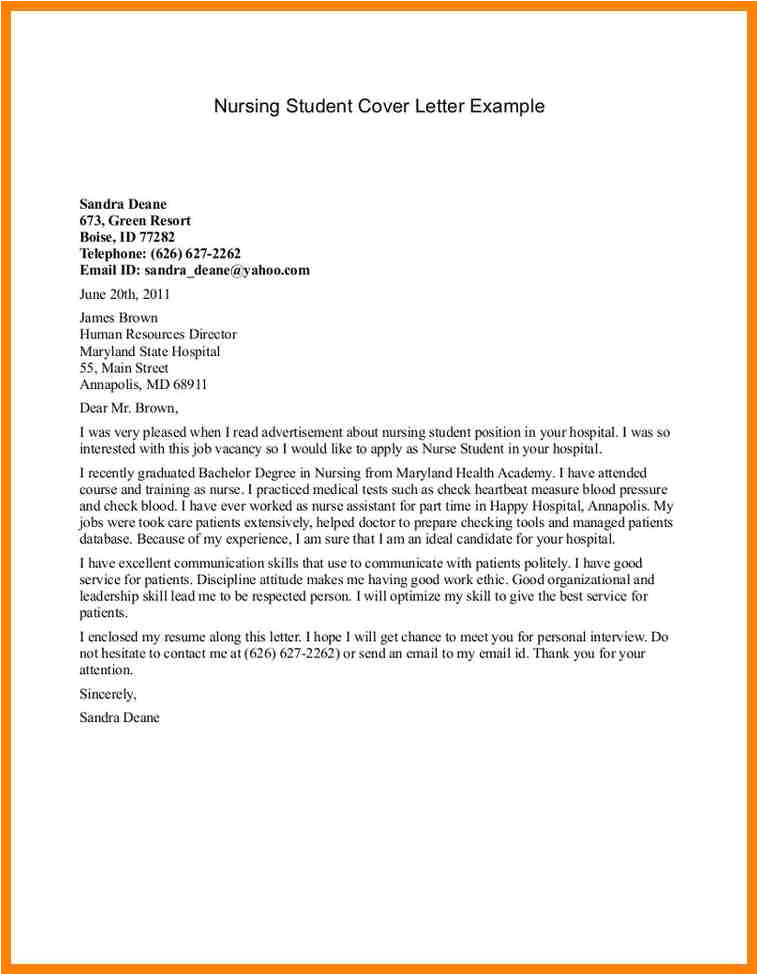 nursing student cover letters