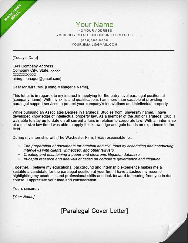 Cover Letters for Paralegals Paralegal Cover Letter Sample Resume Genius