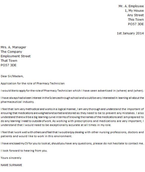 pharmacy technician cover letter example