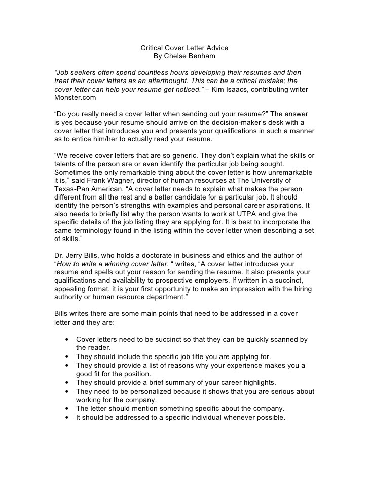 critical cover letter advice