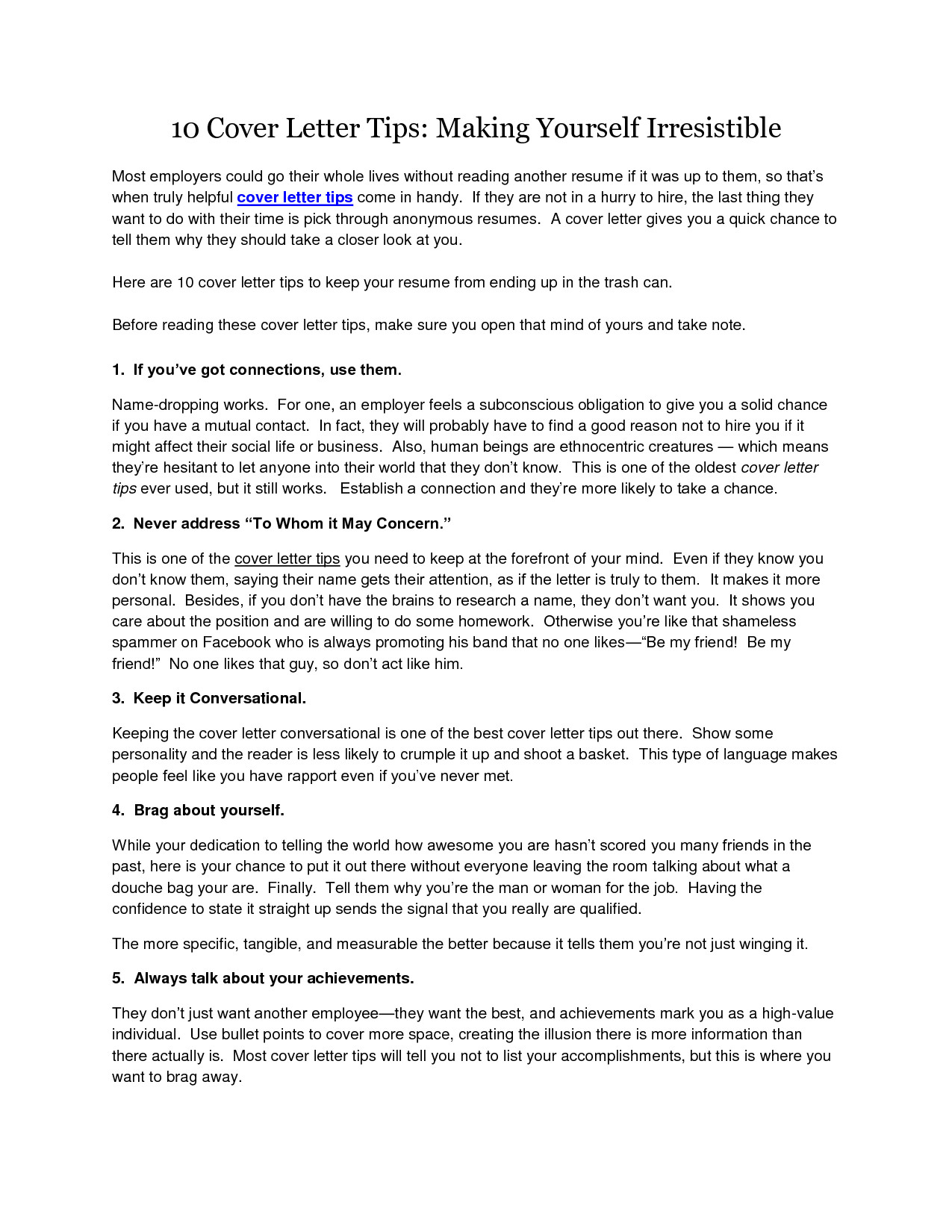 29089 cover letter advice