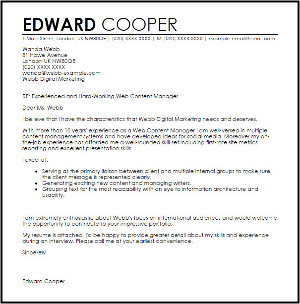 Covering Letter Content Web Content Manager Cover Letter Sample Cover Letter