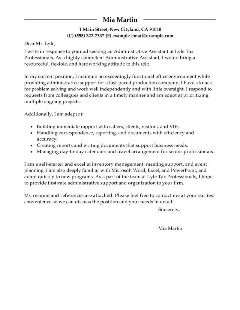 Covering Letter Example for Administrative Position Free Cover Letter Examples for Every Job Search Livecareer
