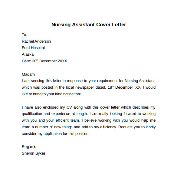 Covering Letter for Care assistant 10 Nursing Cover Letter Template Samples Examples