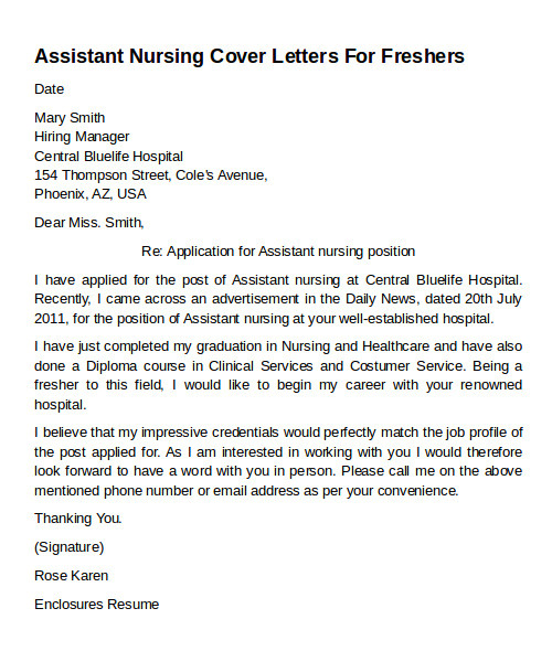 Covering Letter for Care assistant Cover Letter Nurse Extern