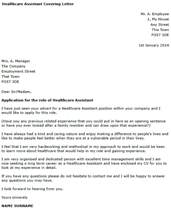 covering letter for health care assistant