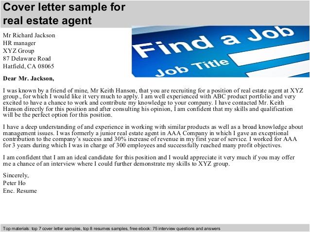Covering Letter for Estate Agent Job Real Estate Agent Cover Letter