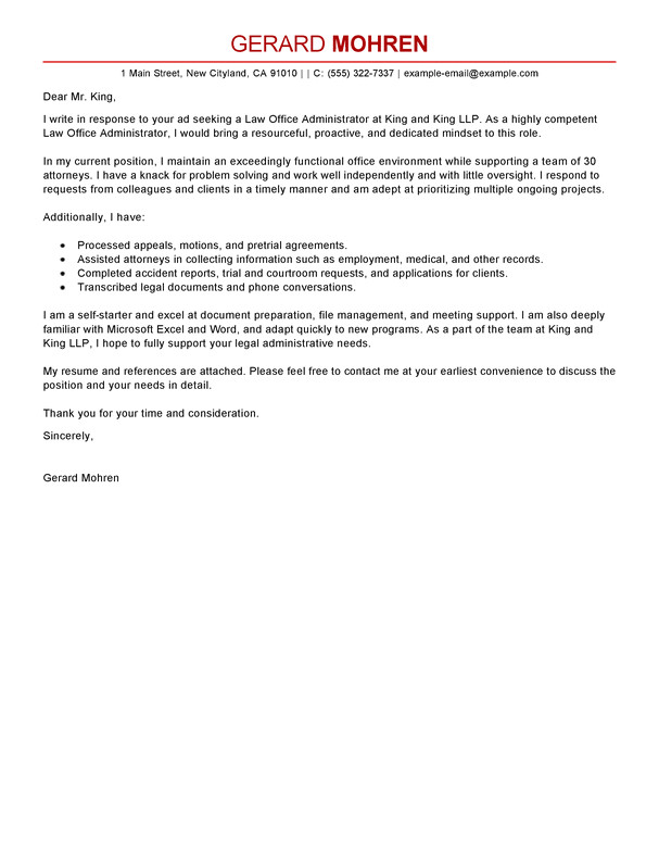 Covering Letter for Office Administrator Best Office Administrator Cover Letter Examples Livecareer