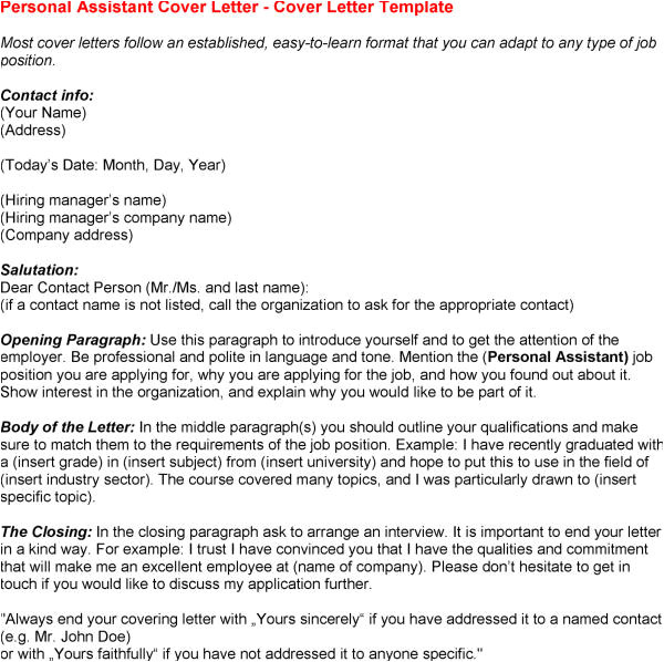 Covering Letter for Personal assistant Cover Letter Personal assistant Experience Resumes
