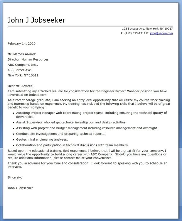 sample cover letter for project report submission
