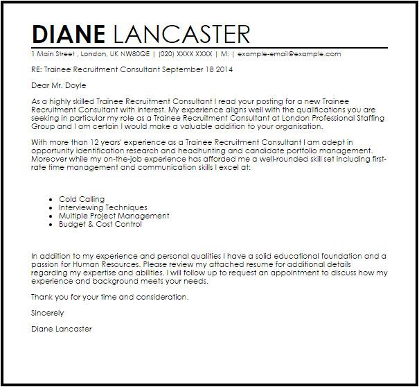 trainee recruitment consultant