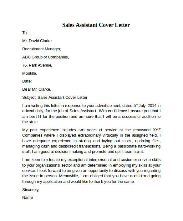 Covering Letter for Sales assistant Sales assistant Cover Letter